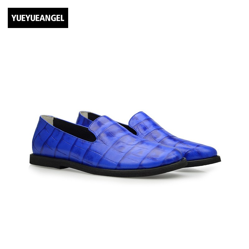 Chaussures Hommes En Cuir Sapatenis Masculinos Casual Mens Casual Shoes Genuine Leather Pig Blue Slip On Male Handmade Loafers masculinos 100