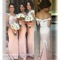 Apliques de renda Longo Da Dama de honra Vestidos Custom Made Light Pink Sereia Da Dama De Honra Vestido de Casamento Formal Vestidos de Festa Vestidos