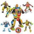 4 Шт. Новое прибытие, 4 становится 1, деформации роботы Супер Робот Строительные Блоки Клонов Солдат playmobil Игрушки масштаб модели