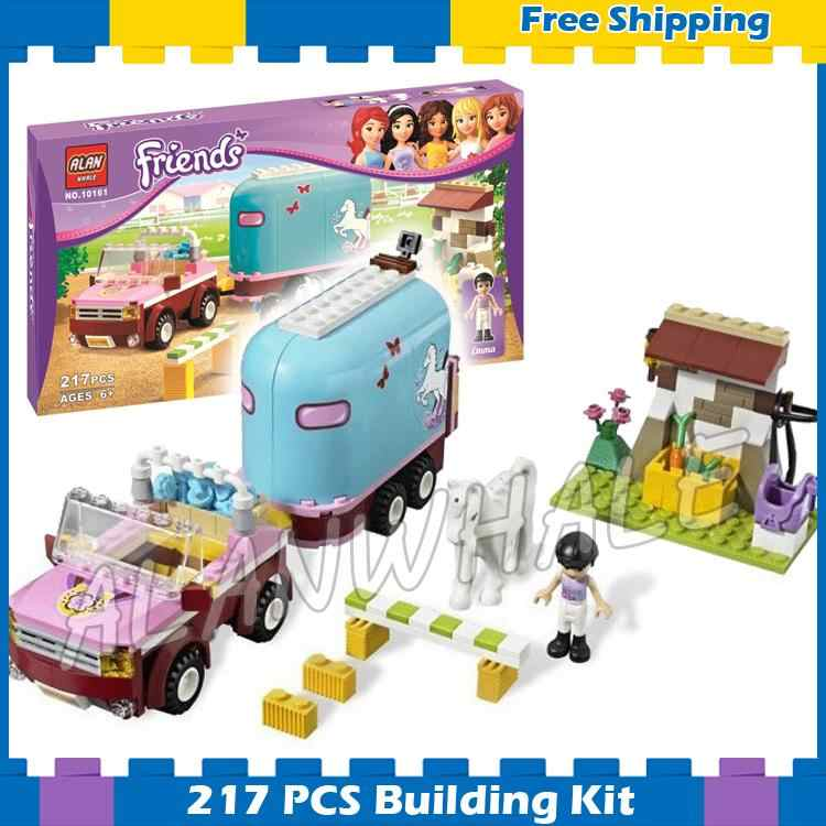 217pcs Friends Heartlake City Emmas Horse Trailer 10161 Model Building Blocks Lovely Children Gifts sets Compatible With Lego