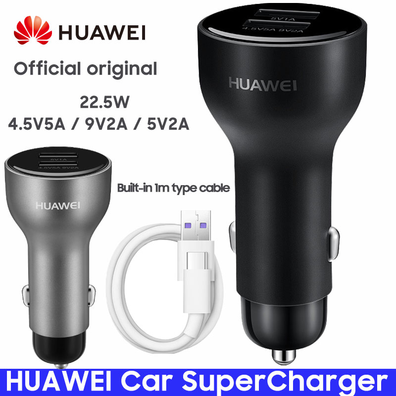 HUAWEI Car SuperCharger P20 Mate 9 10 Pro V10 Original Honor Super Charge Fast Car-Charger Quick Adapter 5A Type-c Cable Type C