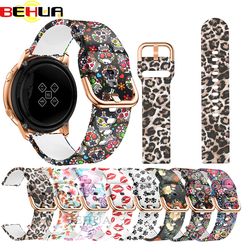 20mm Smart Watch Strap For Samsung Galaxy Watch Active 42mm Sport Soft Silicone Replacement Band Bracelet Wristband Correa Reloj