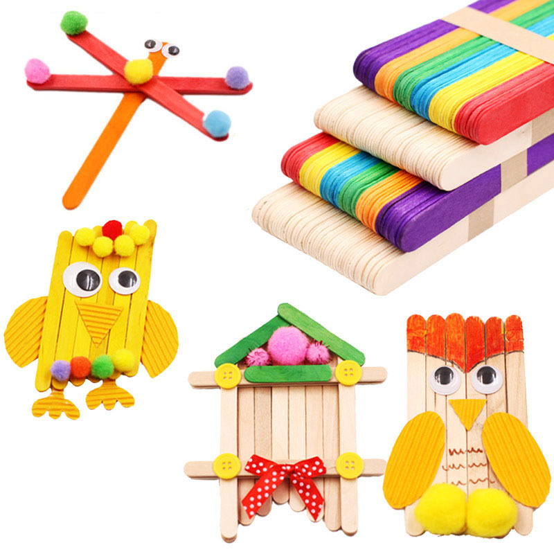50pcs/Set Wooden Sticks DIY Craft Toys For Children Handmade Wood Ice Cream Wooden Stick Educational Montessori DIY House Toys