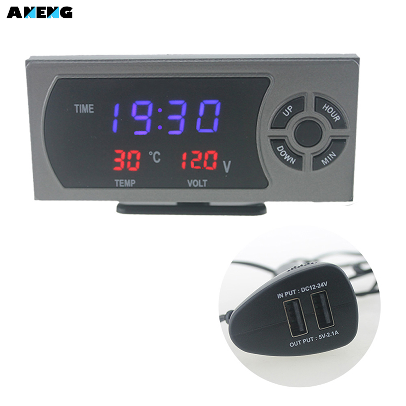 ANENG VST LED Display Dual Car Clock Voltage Temperature USB Port Auto Electric Car Changer Function Accessory Parts