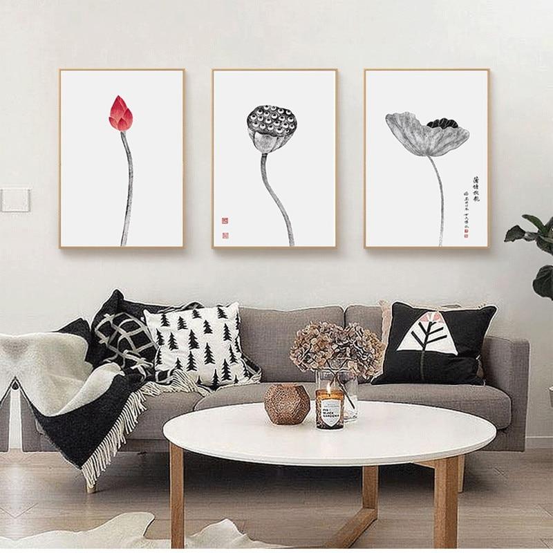 Moderní studijní dekorace malba nový čínský styl obývací pokoj malba jednoduchá restaurace vstupní hala malby lotosové nástěnné malby