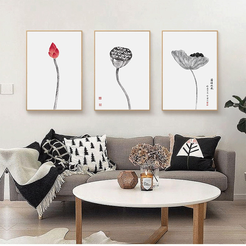 Modern Study Decoration Painting New Chinese Style Living Room Simple Restaurant Entrance Hall Paintings Lotus Murals