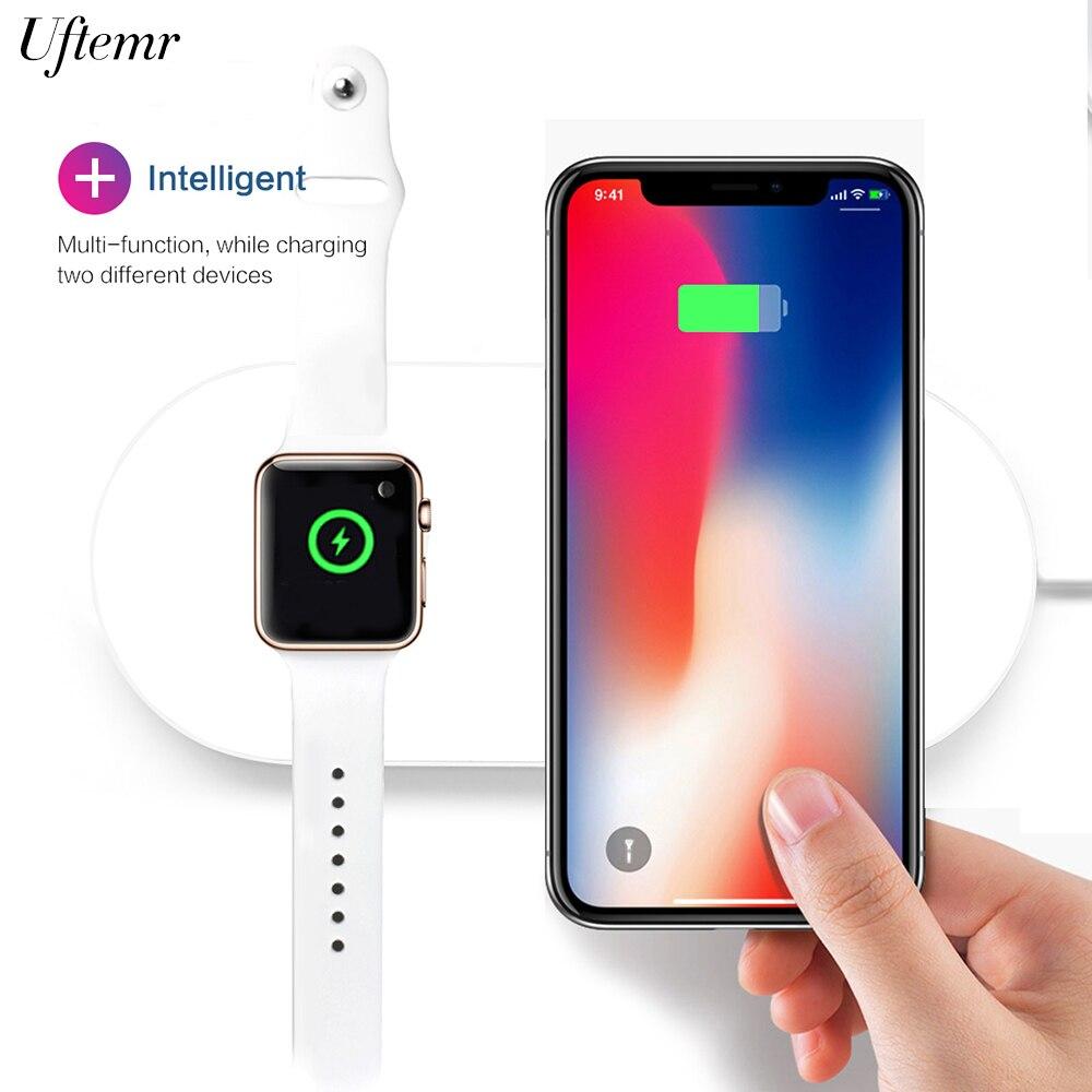 Chargeur sans fil Qi 2 en 1 avec 2 quais de chargement sans fil pour iPhone XS Max XR X 8 pour Apple Watch pour Samsung S9 + S8 S7 Note 9