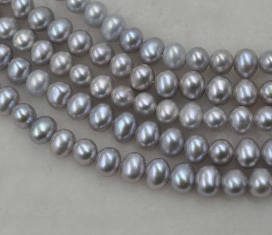 Hurtownie 5 nici 5.5 6*6.5 7mm szary słodkowodne ziemniaków pearl luźne struny w Koraliki od Biżuteria i akcesoria na  Grupa 1