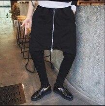 M-5XL Automne Nouvelle Hommes de punk faux deux pièce personnalité harem  pantalon mince pantalon jupe marée zipper culottes coif. c575cc32a500