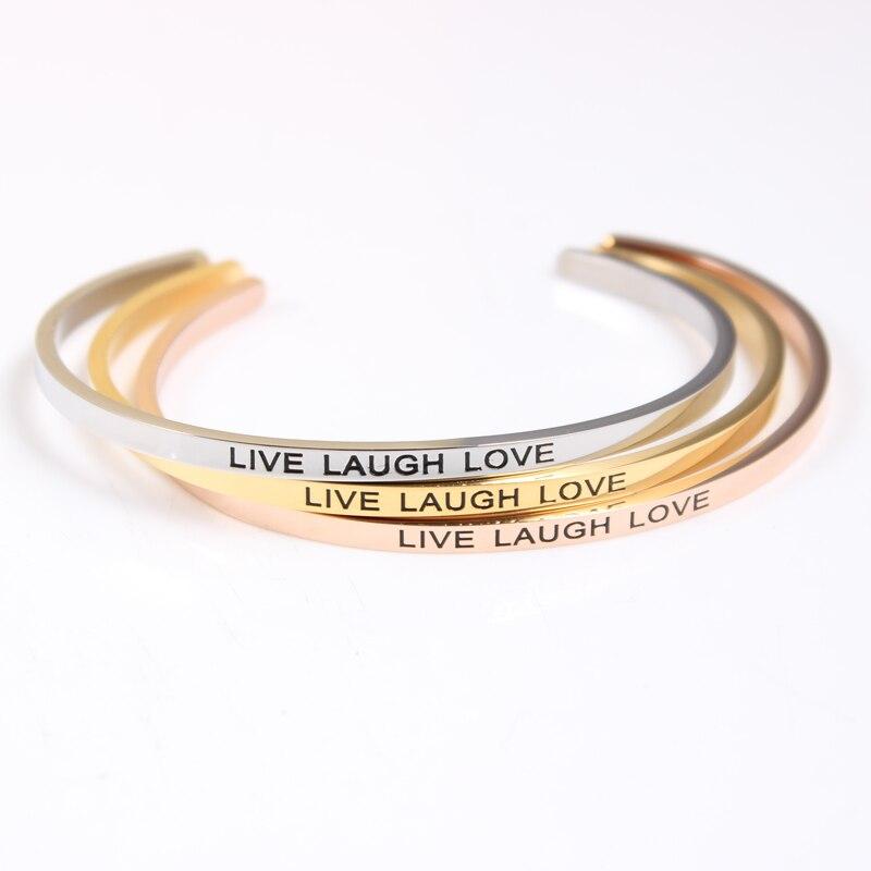1d6830376e65 1 Unids lote Mantra de Acero Inoxidable Pulseras de Plata Oro Grabado  Palabras Inspirational LIVE LAUGH LOVE ID Cuff Bangles Para Las Mujeres