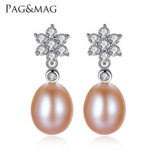 PAG MAG Brand 8 9mm Drop Pearl Stud Earrings for Girls S925 Sterling Silver Flower Women