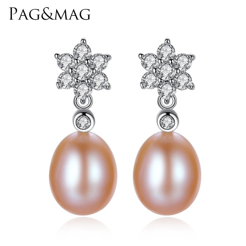 PAG MAG Brand 8 9mm Drop Pearl Stud font b Earrings b font for Girls S925