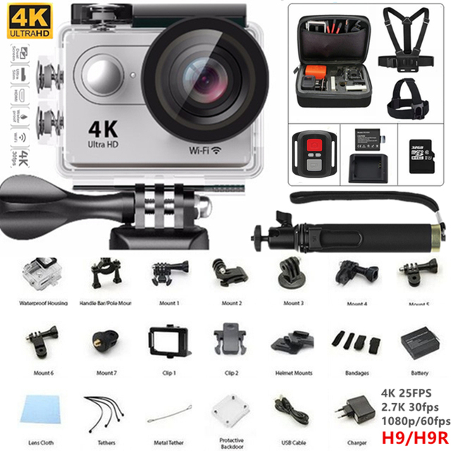 "Câmera ação wi-fi 4 K Ultra hd câmera esporte h9/h9r hd 1080 P/60fps 2.0 ""LCD ir câmera gopro estilo mini cam à prova d' água + yi monopé"