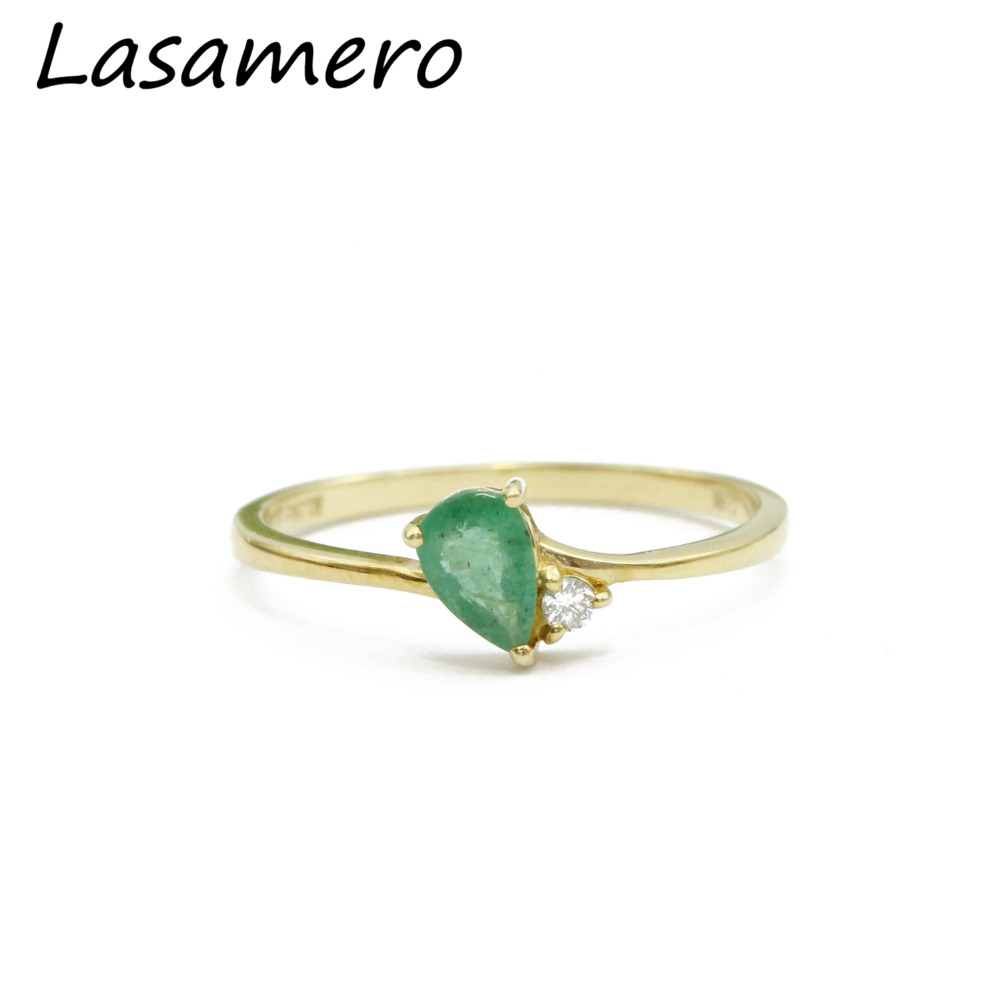 Lasamero Pear Cut 028ct Natural Emerald Gemstone Water Drop 18k Rose Gold Minimalist Diamond Side Stone Engagement Ring: Drop Oval Wedding Ring At Websimilar.org