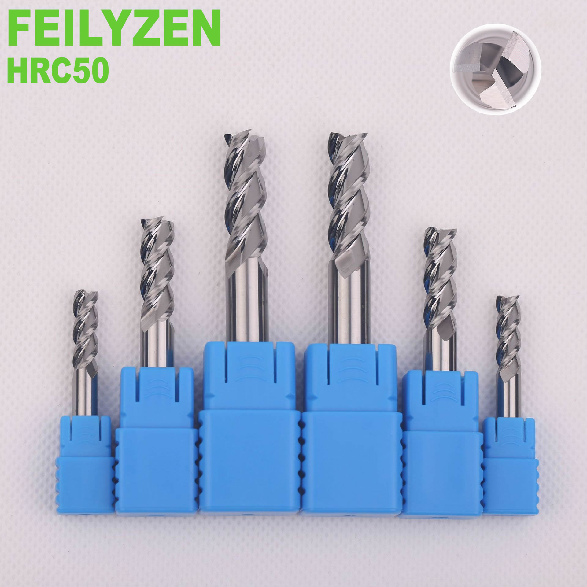 FEILYZEN Solid Carbide Flat End Mill For Aluminum 3 Flutes Tungsten Steel CNC Milling Cutter CNC Router Bits HRC50
