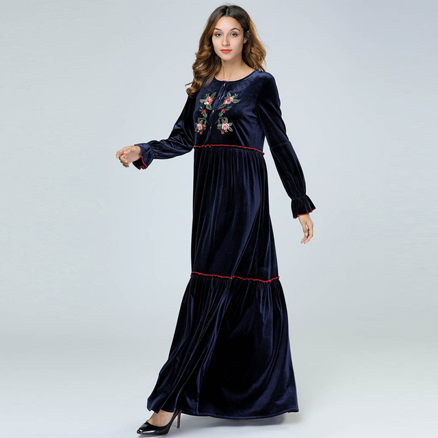 d0a40d4c15b67 Velvet Abaya Dubai Kaftan Arabic Muslim Hijab Dress Abayas For Women  Vestido Robe Qatar Jilbab Dresses Turkish Islamic Clothing