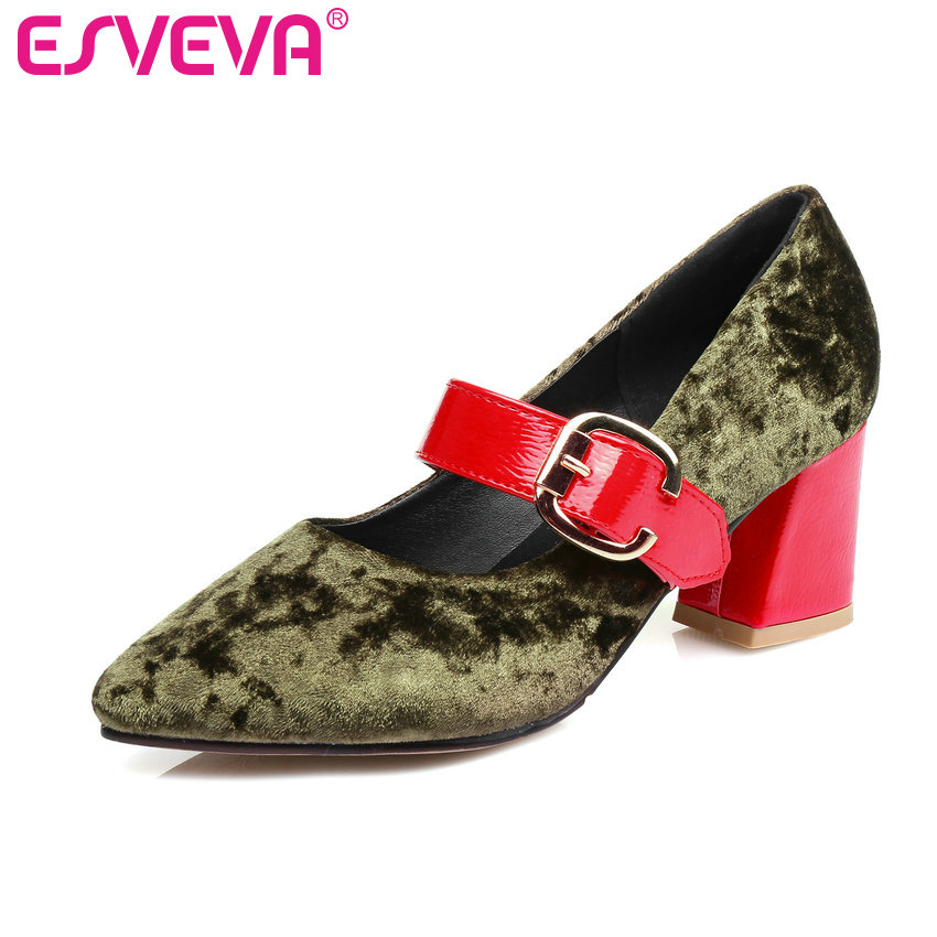 ESVEVA 2017 Spring Shoes Pointed Toe Women Pumps Square High Heel Women Pumps Western Style Flock Buckle Strap Shoes Size 34-43 new 2017 spring summer women shoes pointed toe high quality brand fashion womens flats ladies plus size 41 sweet flock t179