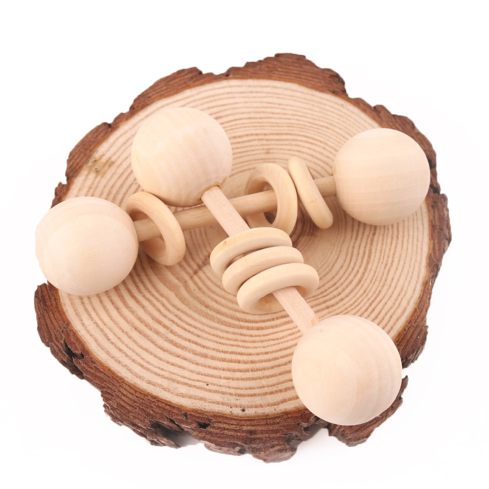 1PC Wooden Teether Rattle Montessori Activity Gym Toys Wooden Blank Ring Teething Toys Baby Nursing Gifts Toys Children'S Goods