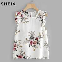 SheIn Frilled Armhole Button Closure Back Shell Top Women Summer Tops White Round Neck Sleeveless Floral