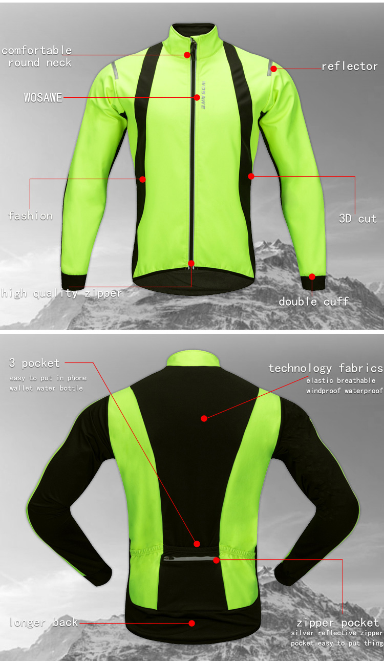 Back To Search Resultssports & Entertainment Cycling Learned Wosawe Reflective Jackets Mtb Winter Clothing Fleece Cycling Bike Breathable Green Windbreaker Windproof Waterproof Pockets