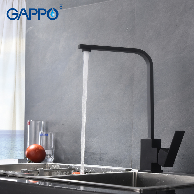 GAPPO Black Stainless Steel Kitchen Faucet Deck Mounted  Mixer Faucet Mixer Taps For Kitchen Sink Mixer De Cozinha Tap Y40848