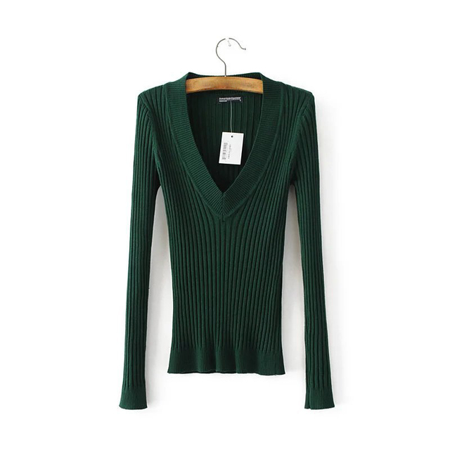 6cf10446487 Autumn Fashion Women Forest Green Sexy Deep V Neck Elastic Knitted Sweater  Casual Long Sleeve Skinny Knitwear Pullover Coat Tops