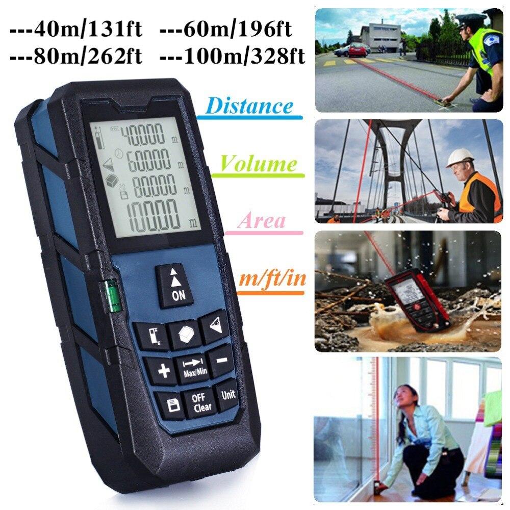 Azul oscuro medidor de distancia láser medidor de telémetro medida/Área de volumen 131ft (40 m) /196ft (60 m)/262ft (80 m)/328ft (100 m)
