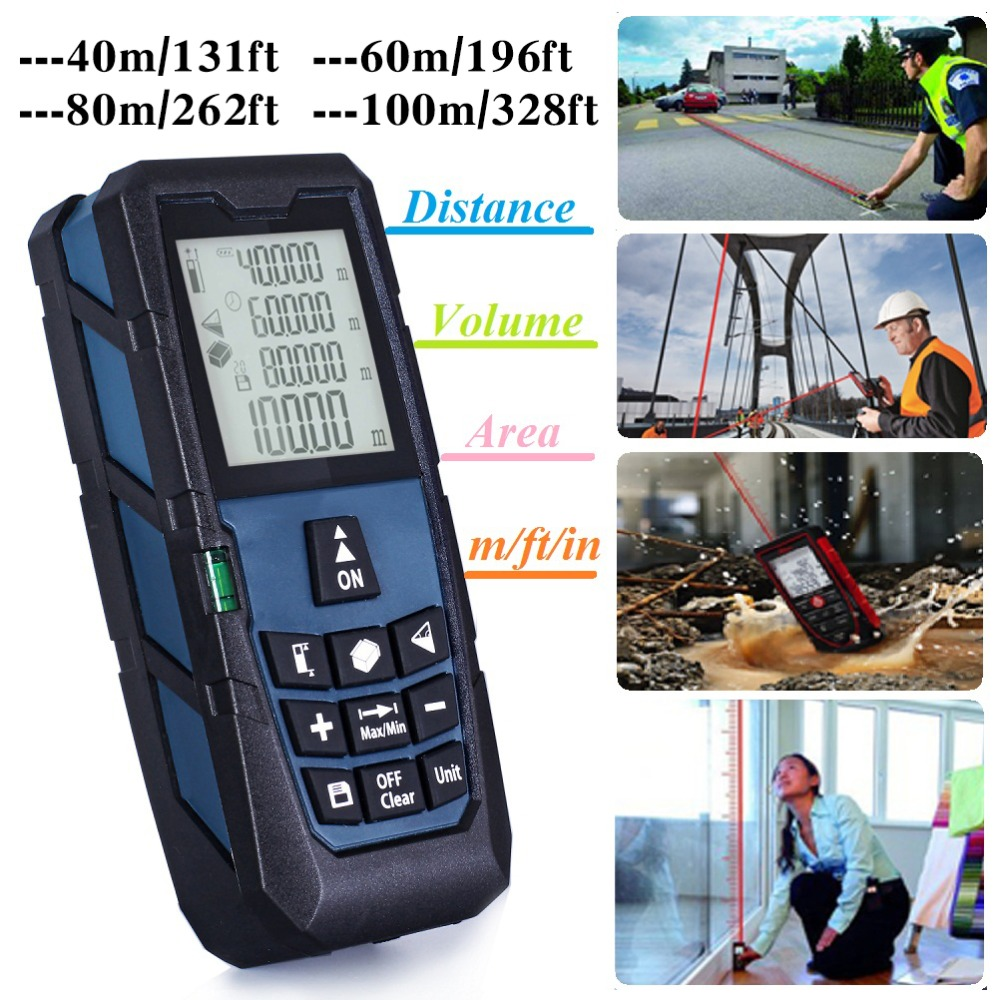 Darkblue Laser Distance Measurer Meter Rangefinder Measure Area/Volume 131ft (40m)/ 196ft (60m)/ 262ft (80m)/ 328ft (100m) 40m laser distance meter laser rangefinder 40m distance measurer instrument measurement area volume digital measuring tool 013