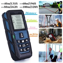 Digital Laser Distance Meter Handheld Level Rangefinder Measure Area/Volume 120ft (40m)/ 185ft (60m)/ 245ft (80m)/ 320ft (100m)