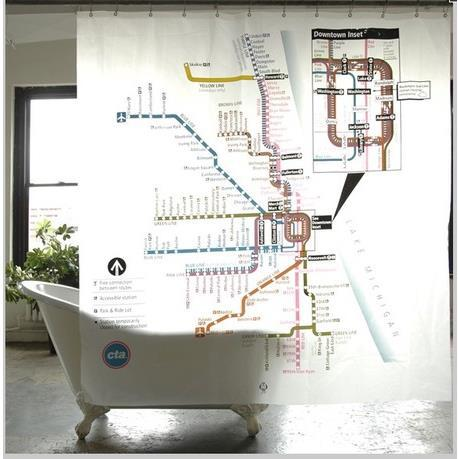 Free Shipping Creative Personalized Chicago Subway Shower Curtain 180180cm PVC Transparent Waterproof Mouldproof Bath Curtains In From Home