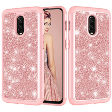For One Plus 6T Case Glitter Bling Dual Layer PC Silicone Phone for OnePlus Cover Coque Accessories