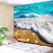 Beach Sea Tapestries Starfish Ocean Wall Art Large Tapestry Painting 3D Wall Hanging Home Decor Blanket Rectangle Tablecloth New все цены
