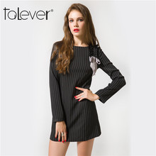 2017 Striped Office Dress Elegant Clothes For Women's Summer Dress Long Sleeve Evening Sexy Bodycon Mini Ladies Dresses Talever