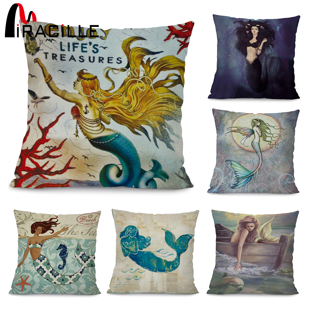 Miracille Marine Style Mermaid Painting Pattern Coffee House Chair Waist Decorative Cushion Cover Bedroom Throw Pillowcase 18 traditional chinese water lily painting pattern square shape pillowcase