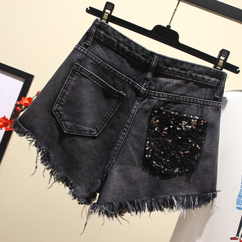 plus size 5XL Summer New Arrival Women High Waist Solid Color Denim Hole Sequined Spliced Casual loose Shorts Jeans 5