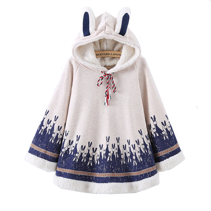 Adomoe Spring Women Rabbit Print Cape Hood with Bunny ականջներով Harajuku Cloak Fleece Fresh Navy blue Hoodies Young Girls Ուսանողներ