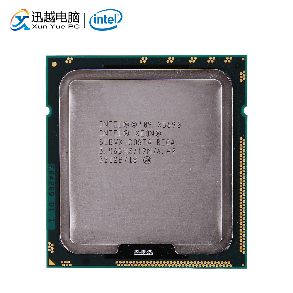 Processeur d'ordinateur de bureau Intel Xeon X5690 Six cœurs 3.46 GHz 12 mo L3 Cache 6.4 GT/s QPI LGA 1366 SLBVX 5690 serveur CPU utilisé