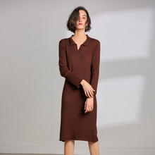 LHZSYY Spring Autumn New Women's Wool Knit Dress Large size Solid color V-Neck Long Pullover Shirt 2019 Hot Outside Retro dress lhzsyy 2019women s spring new large size long solid color wool knit dress loose retro o neck high waist knit wild dress sweater
