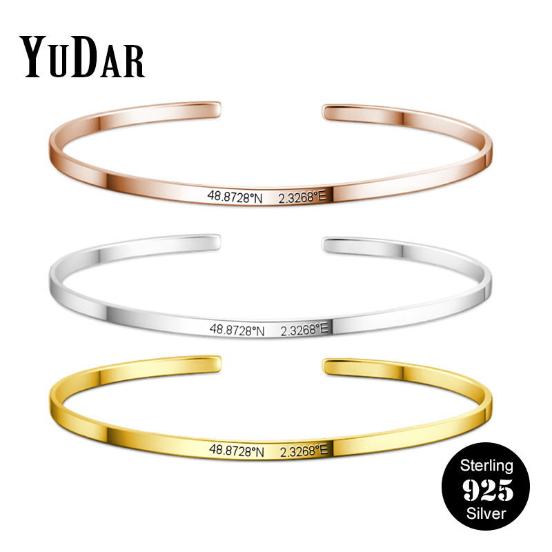 Personalized 925 Sterling Silver Engravable Coordinate Bangle Cuff 925 Silver 2.8mm Wide Customized Bangle Gifts YDS-1106-R