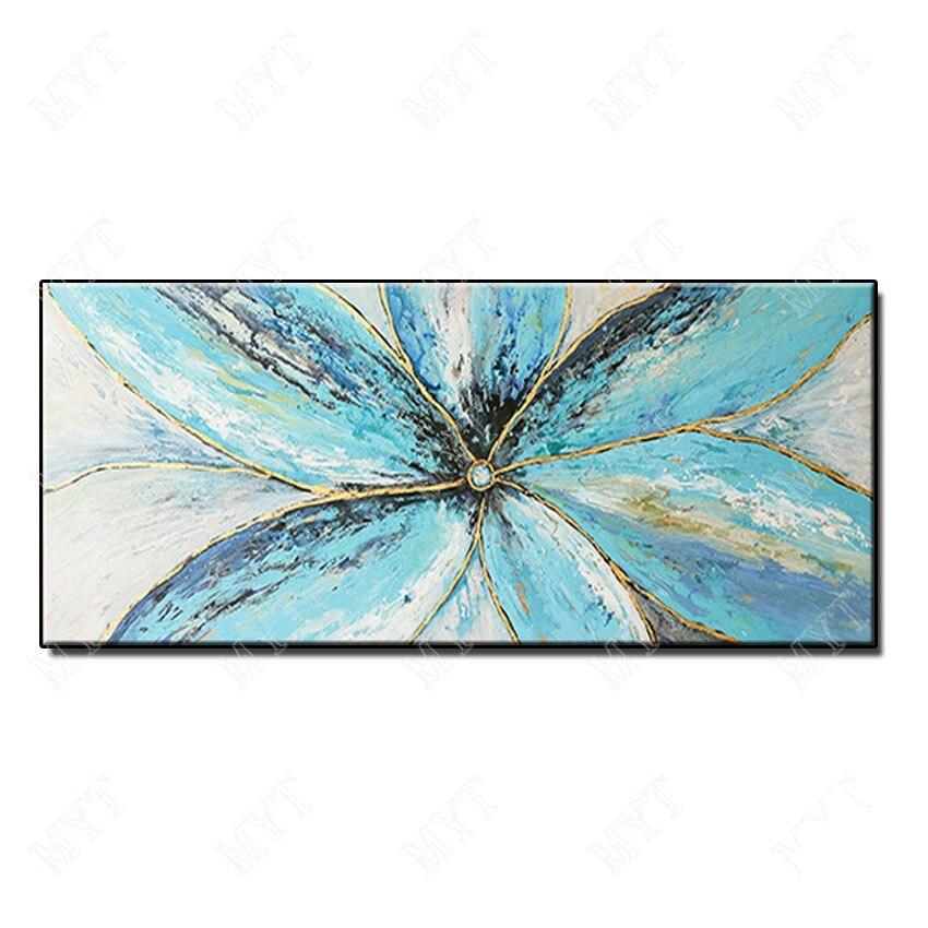 Streszczenie nóż kwiat zdjęcia Home Decor Wall Art ręcznie malowane kwiaty obraz olejny na płótnie Handmade niebieski kwiatowy malarstwo w Malarstwo i kaligrafia od Dom i ogród na AliExpress - 11.11_Double 11Singles' Day 1