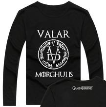 THE Game of Thrones T ShirtMen / Women cool T Shirts hot valar morghulis long sleeve T-Shirt Male geek hip hop swag men shirts