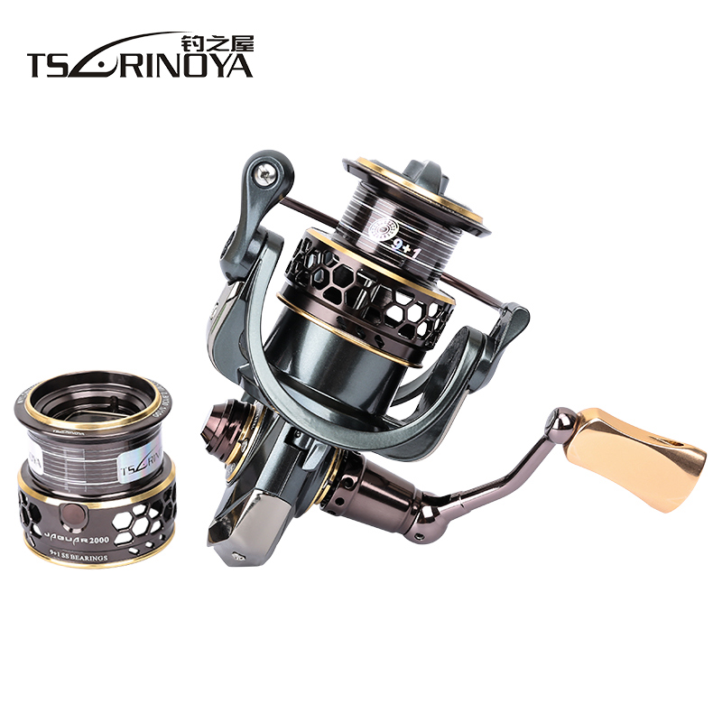 Tsurinoya Jaguar 2000 3000 Spinning Fishing Reel + Spare Spool Lure Wheel Moulinet Peche Para Pesca Saltwater Carp Fishing Reel tsurinoya jaguar spinning fishing reel 1000 2000 3000 double metal spool carp wheel fishing tackle equipment 10bb 5 2 1