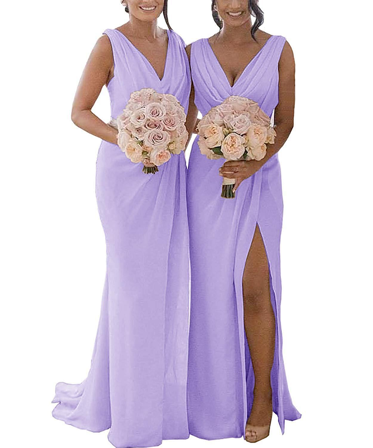 Unique Design V-Neck Long Chiffon Prom Gown Split Side Women's   Bridesmaid     Dresses   Custom Made
