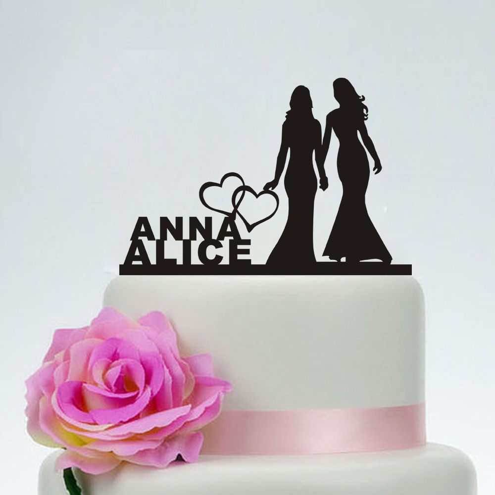 Personalized Wedding Gay Cake Topper   Same Sex Wedding,Two Bride Wedding  Cake Topper,