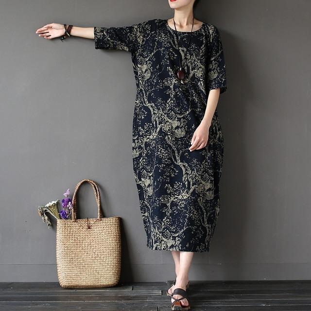 Estilo chinês Flor Imprimir Plus Size Mulheres Vestido Solto Vestido Robe Femme Lençóis De Algodão Vestidos Longos De Verão De Grandes Dimensões Casuais A002