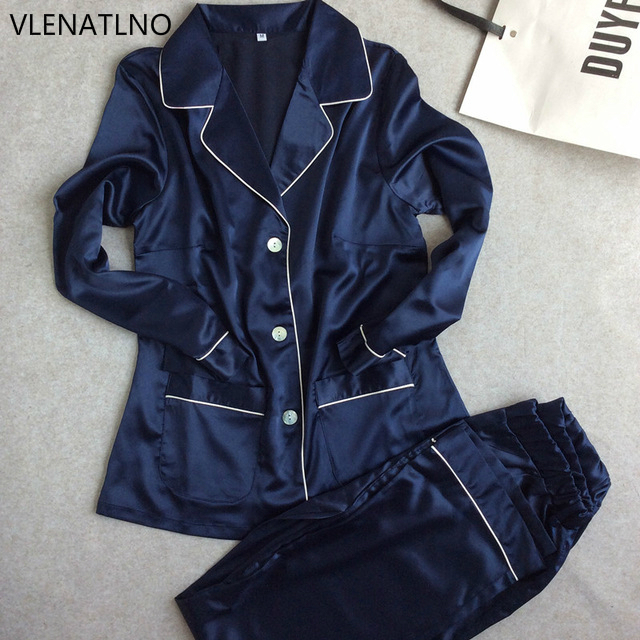 a229ae1757 Womens Lace Silk Sleepwear Pajamas Sets Satin Spring Autumn Long-sleeved  Pyjama Leisure Loungewear navy blue Set All Seasons