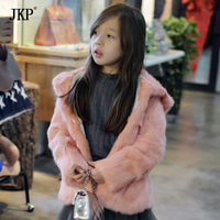 2017 New Kids Real Rabbit Fur Jacket Hooded boy and girls fur Coat Children Rabbit Fur Coat Jacket