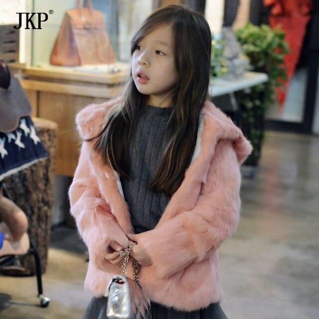 9b984ec60e45 2018 New Kids Real Rabbit Fur Jacket Hooded boy and girls fur Coat ...