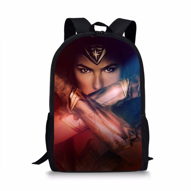 1a0ef5767579 Fashion Book Bag Backpack for Kids Cartoon Character Wonder Woman ...