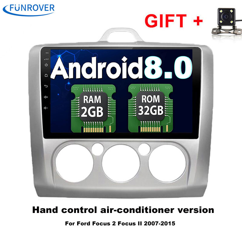 FUNROVER 9 inch Android 8.0 Quad-core 1024*600 Fit Ford FOCUS /MONDEO/S-MAX /CONNECT 2005 2006 2007 Car DVD Navigation GPS RDS
